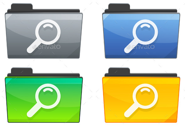 Search Folder Icon Set - Illustration - Technology Conceptual