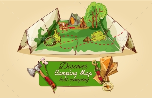 Camping Map Sketch - Miscellaneous Vectors
