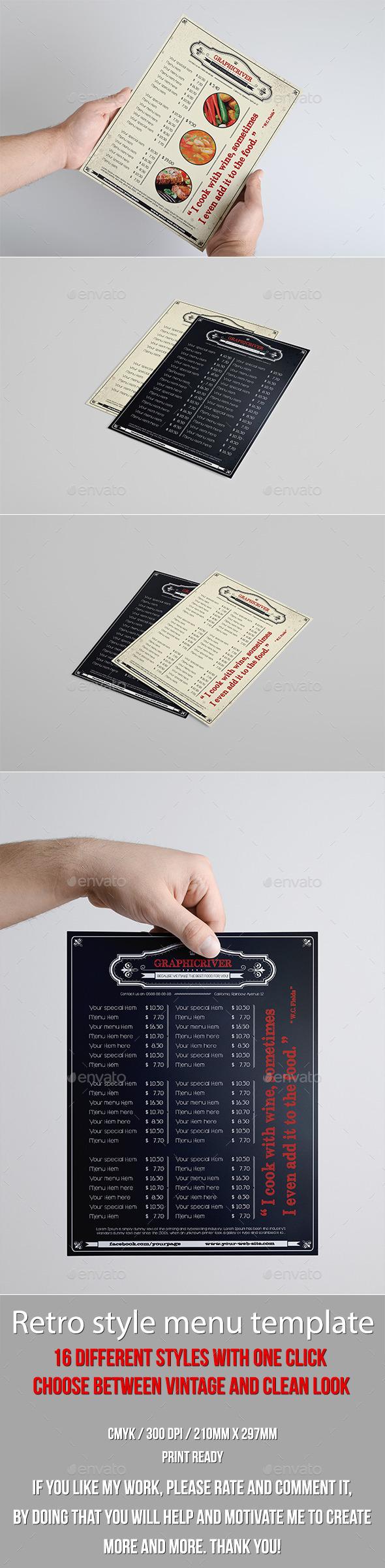Multipurpose Retro Menu 16 in 1 - Food Menus Print Templates