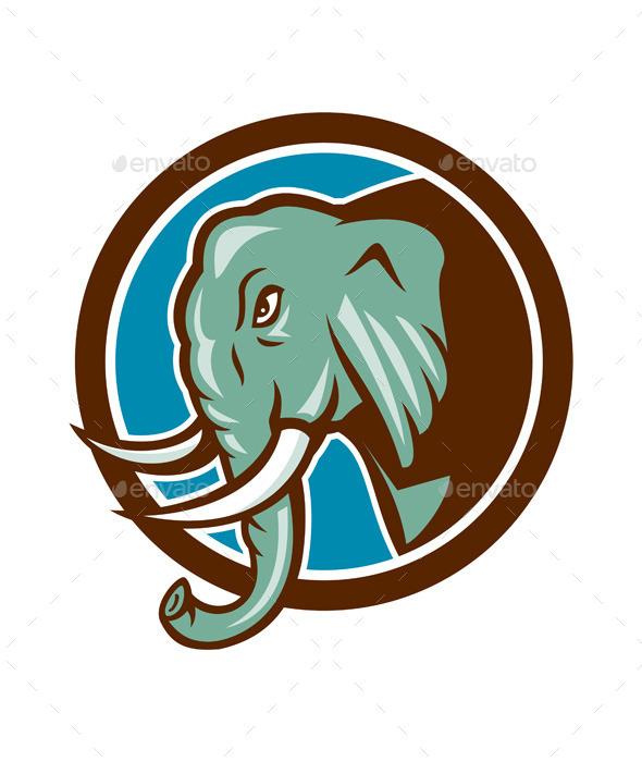 Elephant Head Side Circle Cartoon - Animals Characters