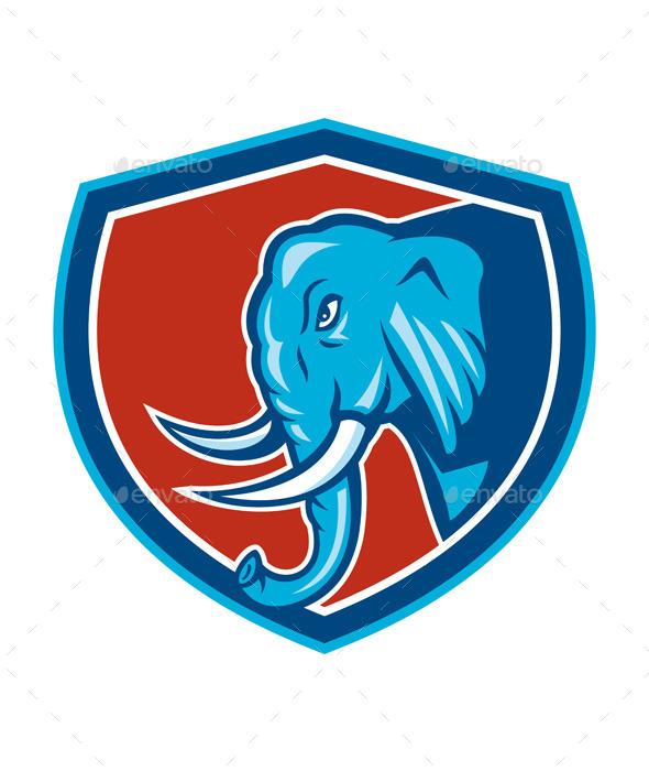 Elephant Head Side Shield Cartoon - Animals Characters