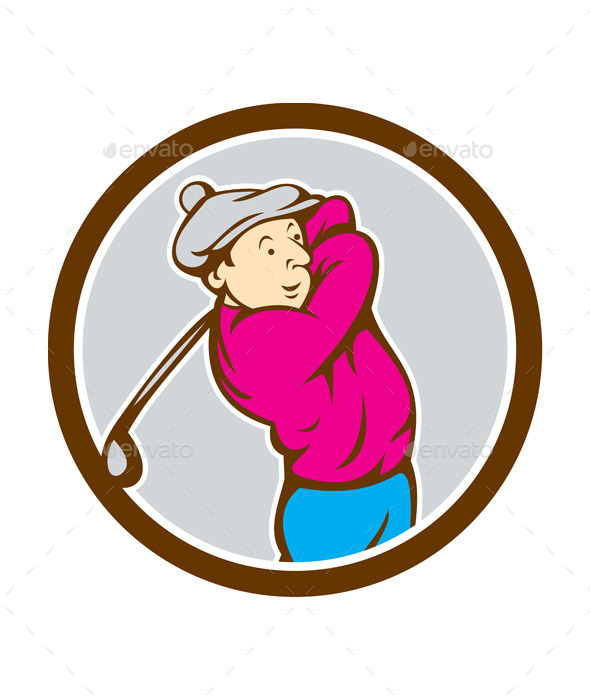 Golfer Swinging Club Circle Cartoon - Sports/Activity Conceptual