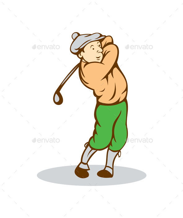 Golfer Swinging Club Cartoon - Sports/Activity Conceptual