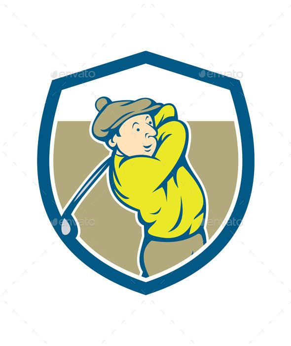 Golfer Swinging Club Shield Cartoon - Sports/Activity Conceptual
