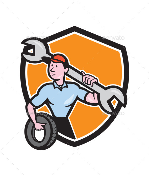 Mechanic Spanner Wrench Tire Shield Cartoon - People Characters