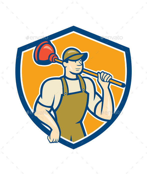 Plumber Holding Plunger Shield Cartoon - People Characters