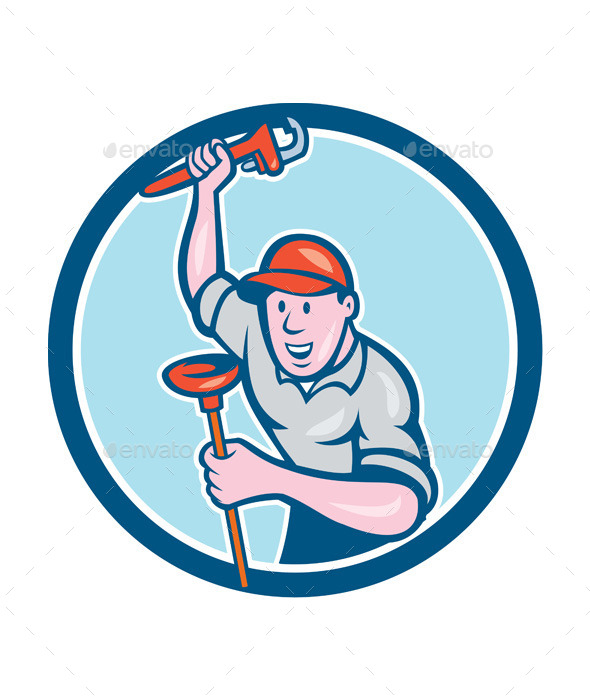 Plumber Holding Wrench Plunger Circle Cartoon - People Characters