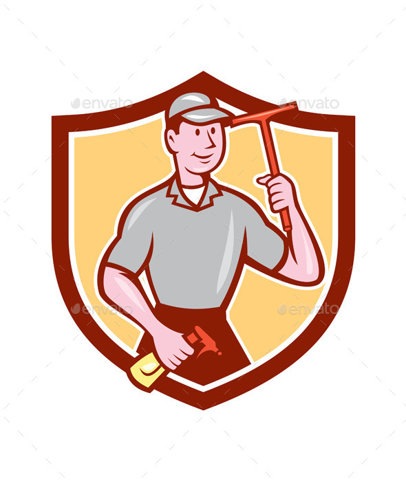 Window Washer Cleaner Squeegee Shield Cartoon - People Characters