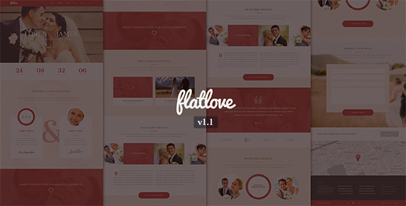 Flatlove – Flat One Page Wedding PSD Template