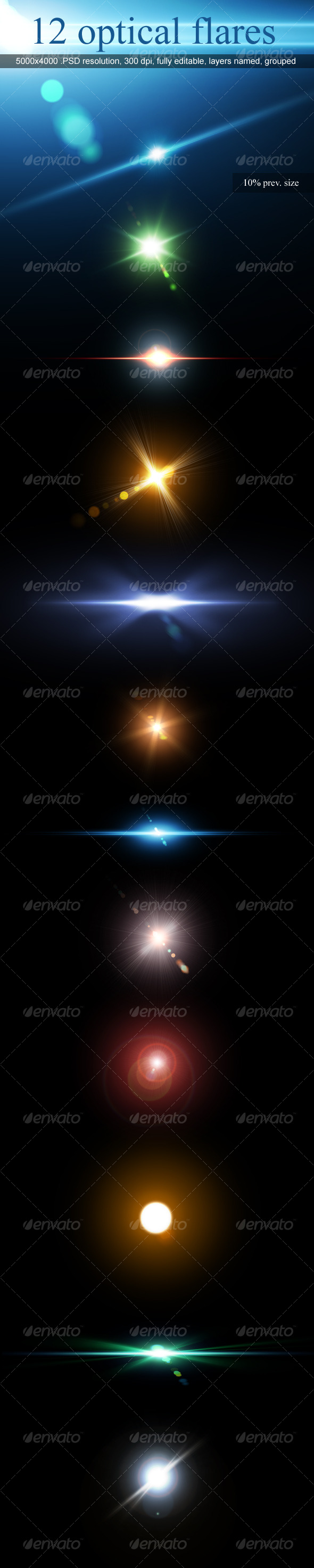 12 Optical Flares - Miscellaneous Graphics