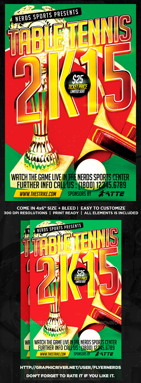 Table Tennis 2K15 Tournament Sports Flyer - Sports Events