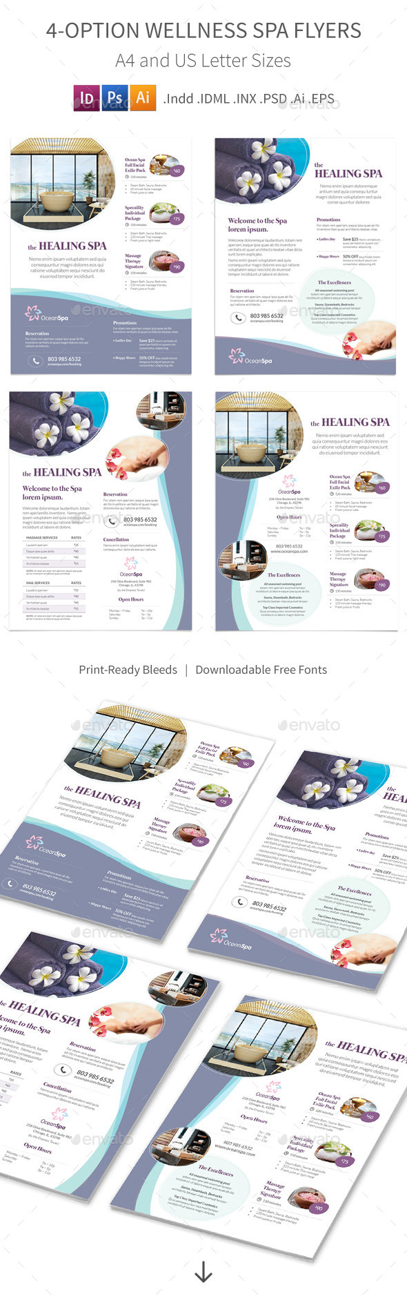 Wellness Spa Flyers – 4 Options - Corporate Flyers