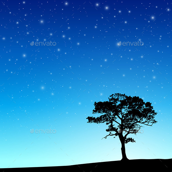 Tree with Night Sky - Landscapes Nature