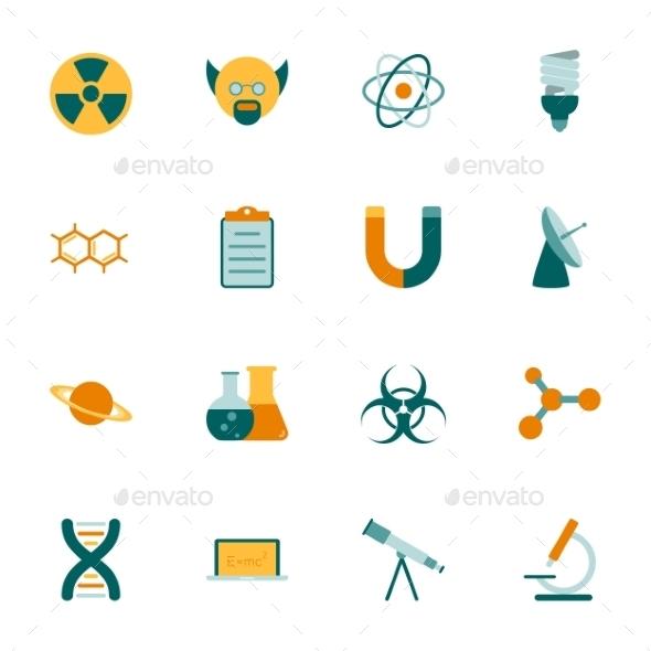 Science Flat Icons Set - Web Elements Vectors