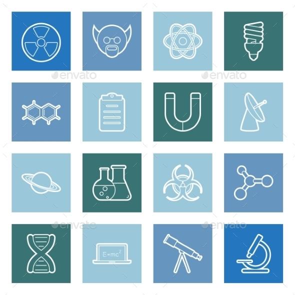 Science Lines Icons Set - Web Elements Vectors