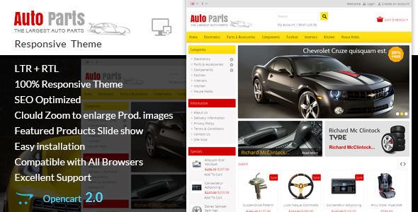 Auto Parts – Tools Opencart Theme