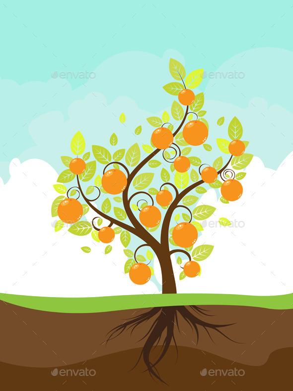 Stylized Orange Tree - Landscapes Nature
