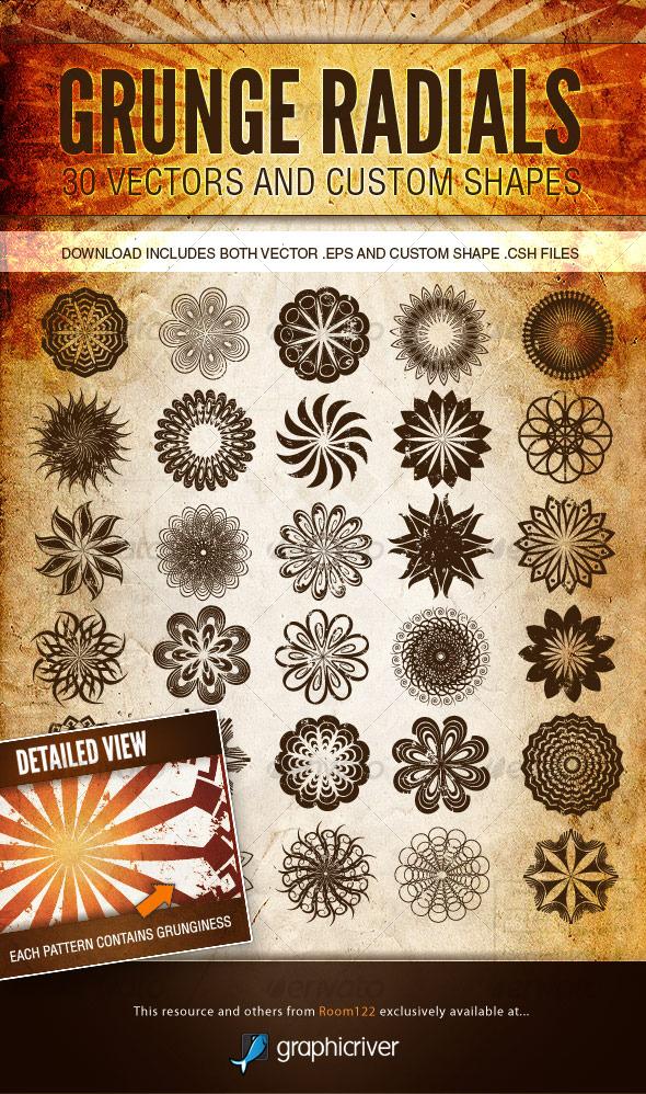 Grunge Radials - Vector Patterns and Custom Shapes - Decorative Symbols Decorative