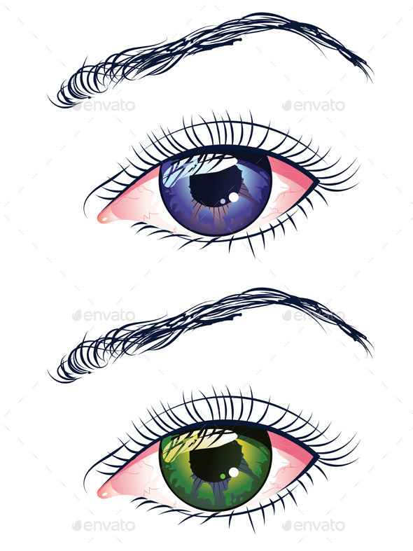 Violet and Green Eyes - Miscellaneous Vectors