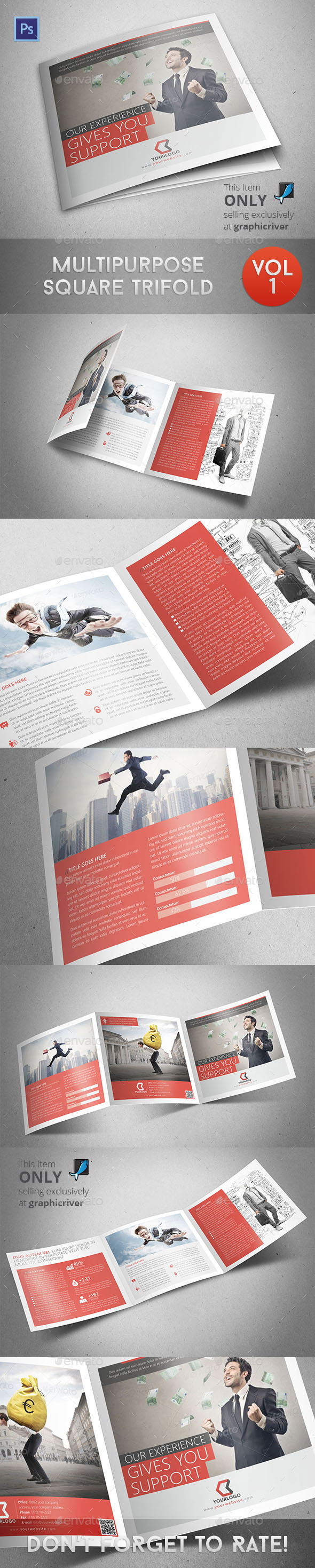 Multipurpose Square Trifold - Informational Brochures