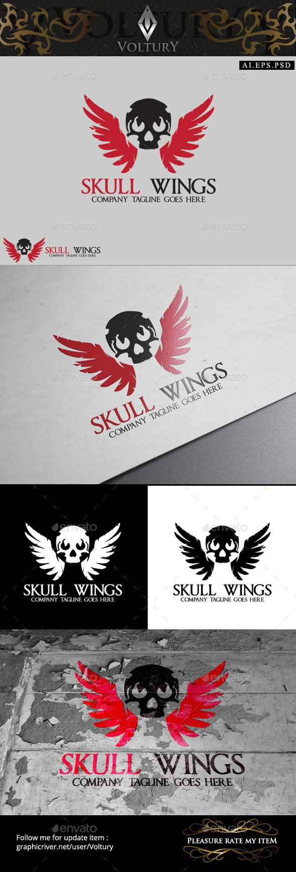 Skull Wings Logo - Symbols Logo Templates