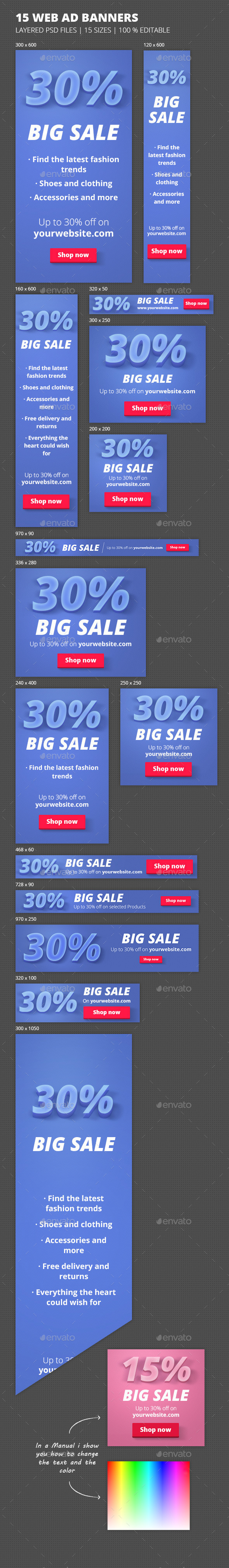 Online Marketing 'Big Sale' Banners  - Banners & Ads Web Elements