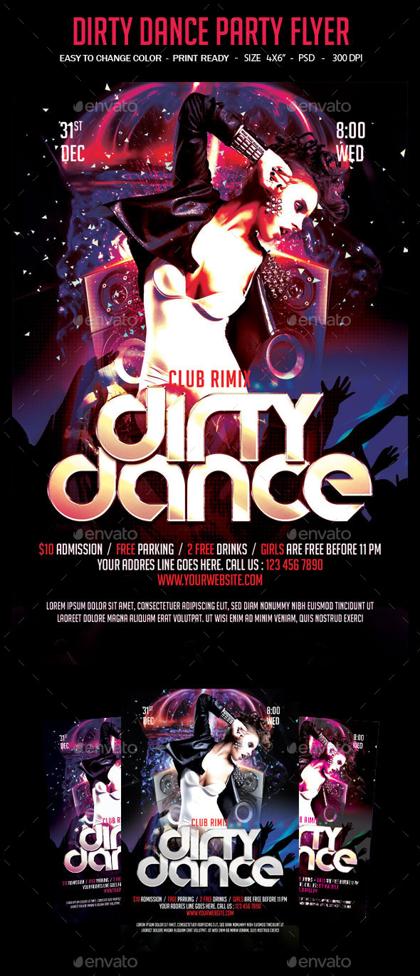 Dirty Dance Party Flyer - Clubs & Parties Events