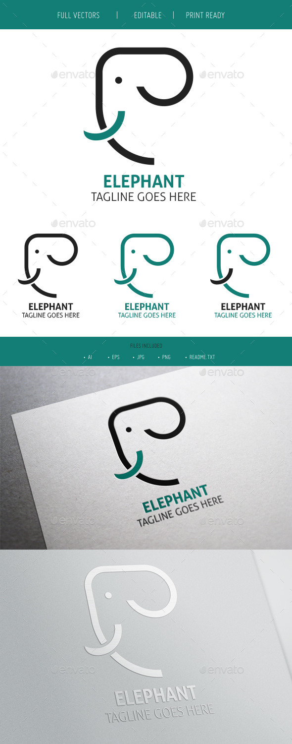 Elephant Clean Logo - Animals Logo Templates
