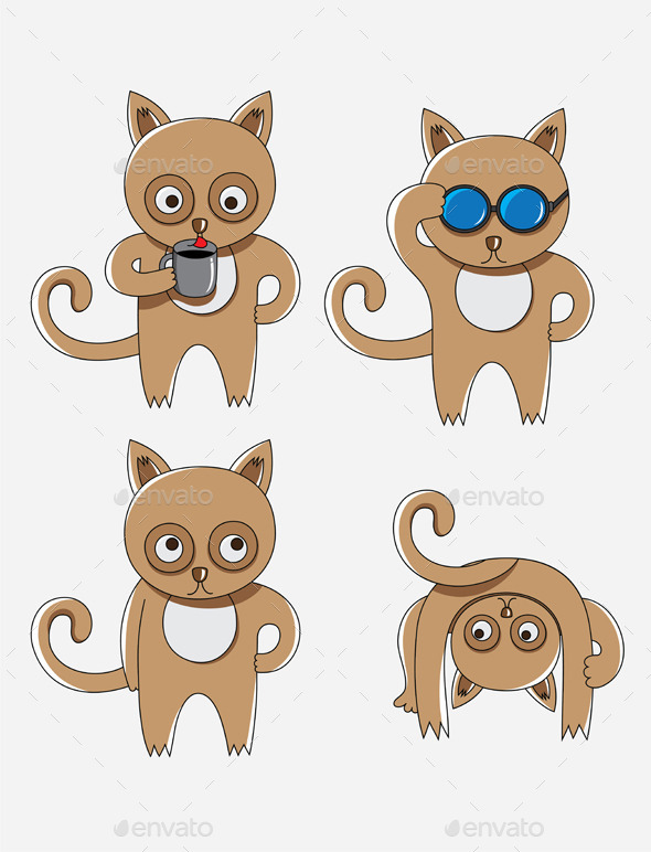 Cat Cartoon Set - Animals Characters