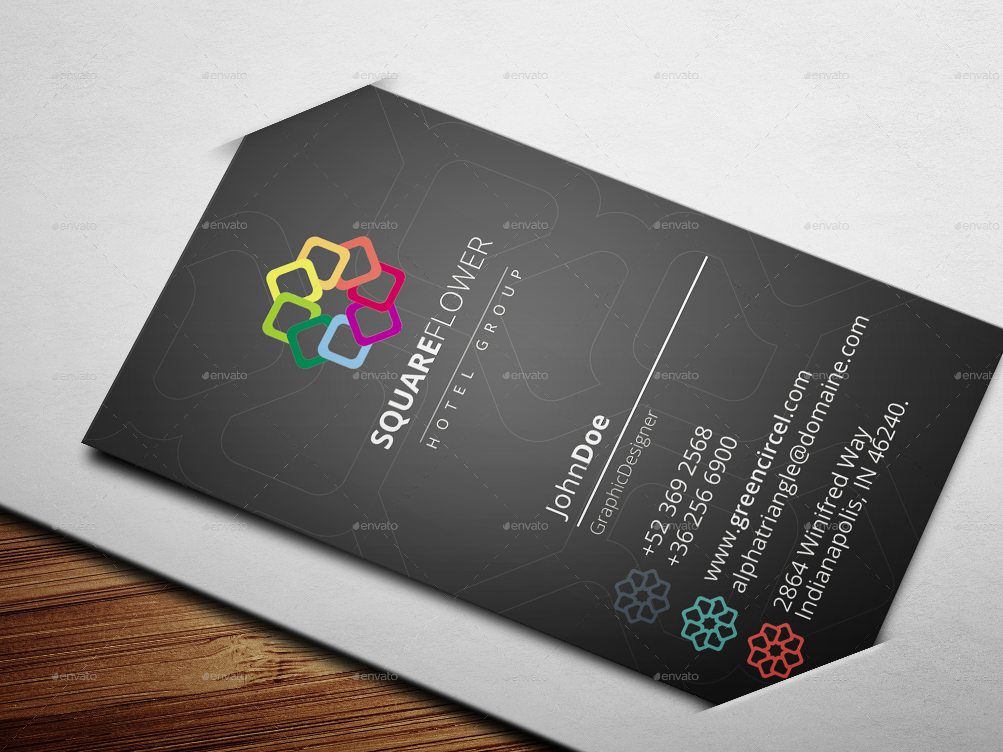 Square flower hotel business card by exoticthemes graphicriver square flower hotel business card colourmoves