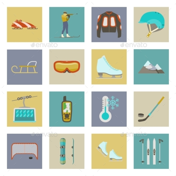 Winter Sports Flat Icons Set - Sports/Activity Conceptual