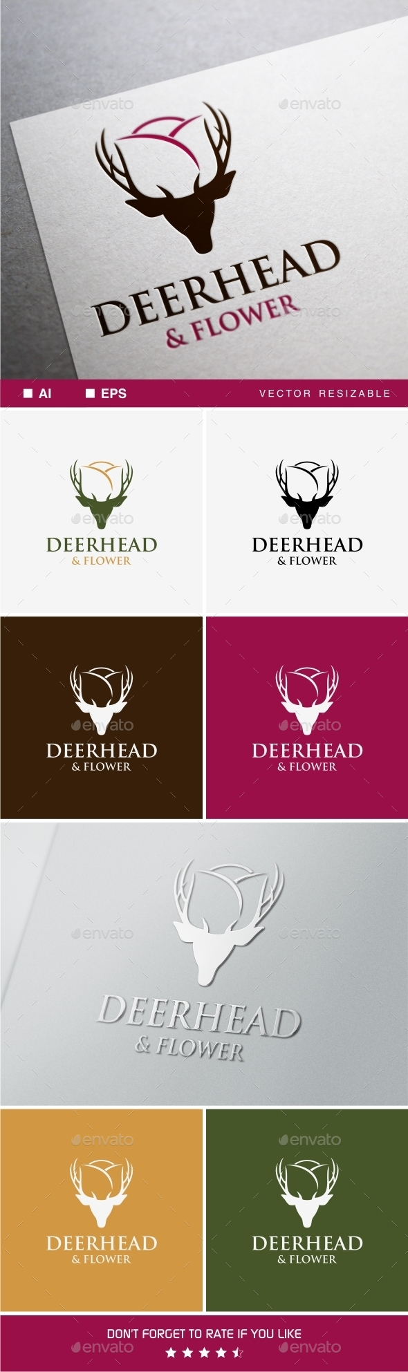 Deer & Flower - Animals Logo Templates
