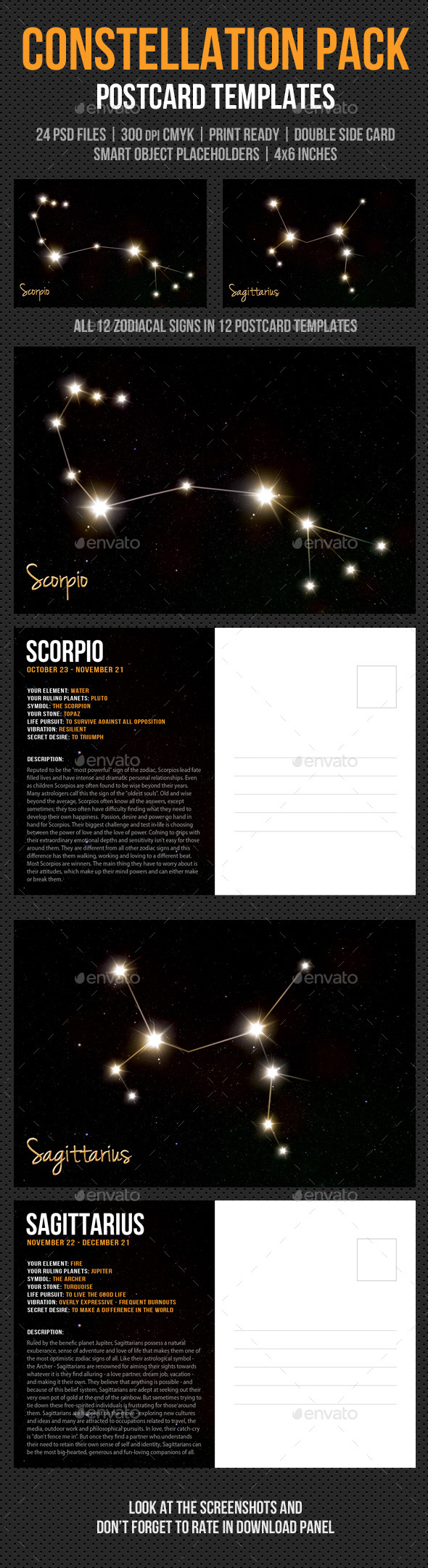 Constellation Postcard Pack - Cards & Invites Print Templates