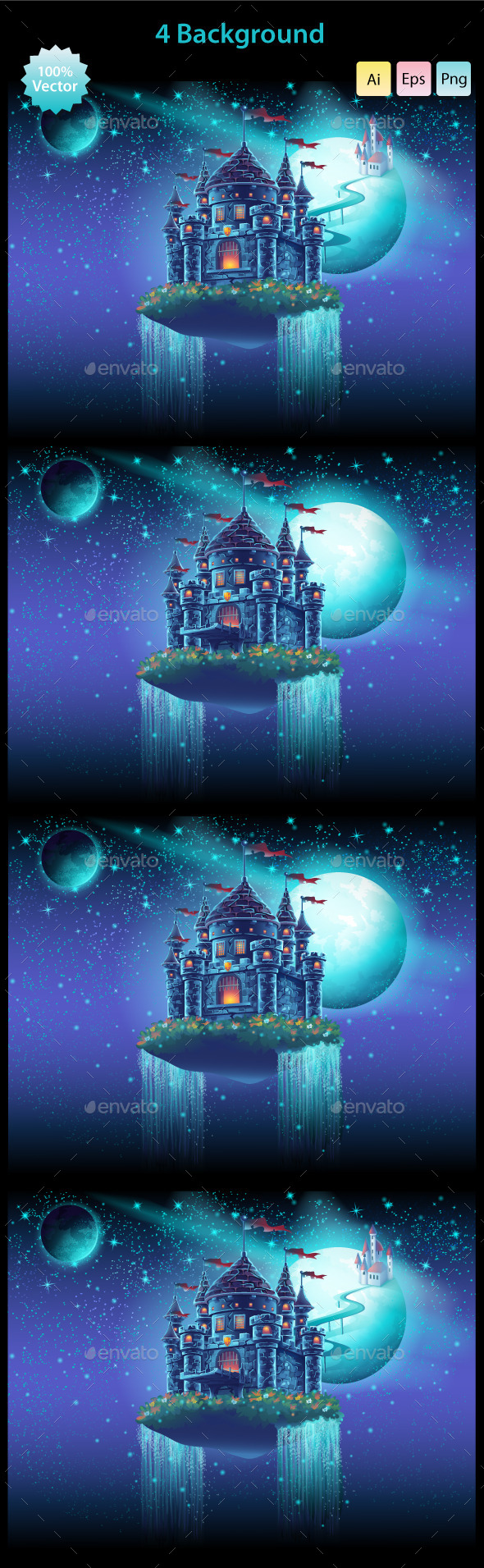 Space Castle with a Waterfall on the Background - Backgrounds Game Assets