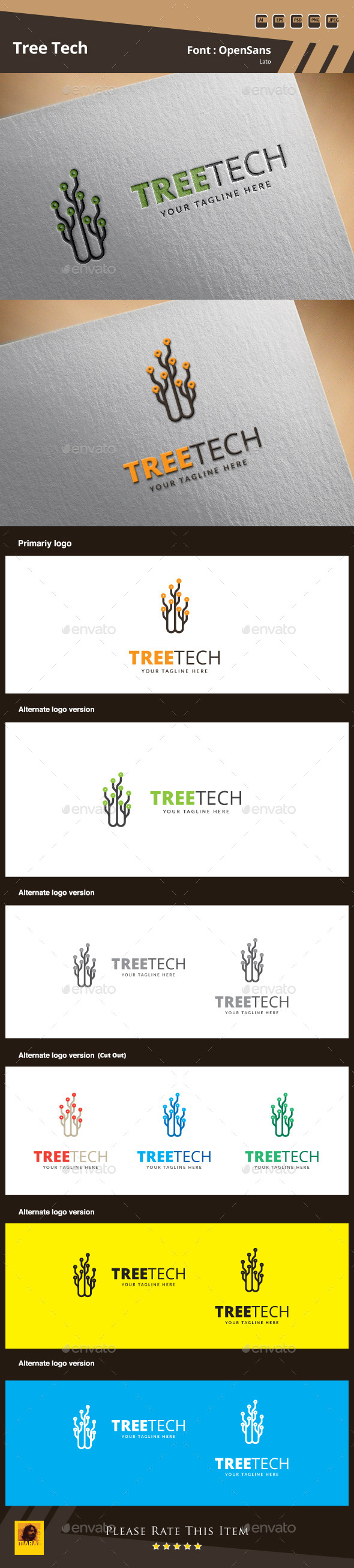 Tree Tech Logo Template - Symbols Logo Templates