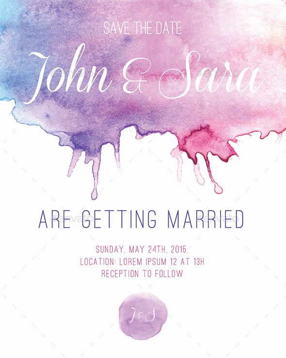 Watercolour Card, for Invitation or Announcement - Cards & Invites Print Templates