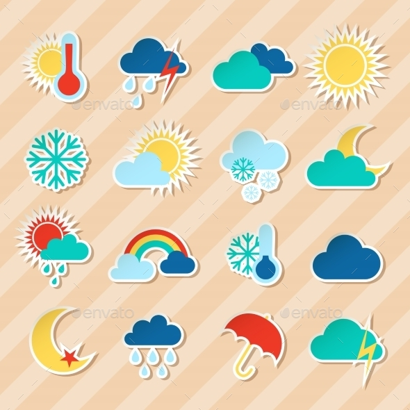 Weather Stickers Set - Seasons Nature