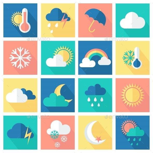Set of Weather Icons - Seasons Nature