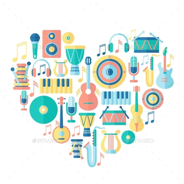 Heart with Musical Instruments - Decorative Symbols Decorative