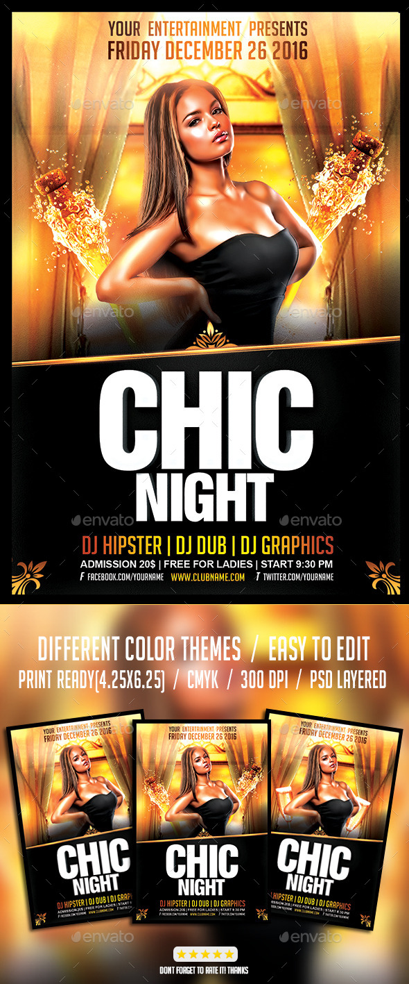 Chic Night Flyer PSD Template - Events Flyers