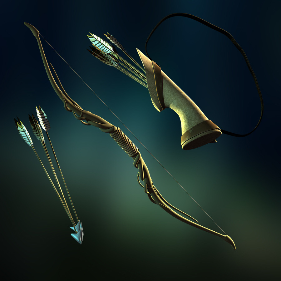 Forest Bow, Arrow and Quiver Set by Pebble09 | 3DOcean