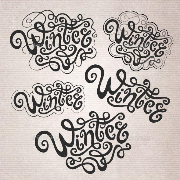 Winter Hand Lettering Set - Seasons Nature