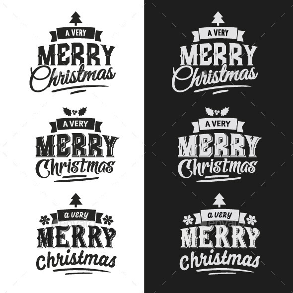 Christmas Typographic Design Emblem Set - Christmas Seasons/Holidays