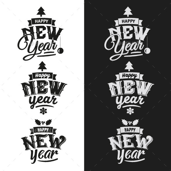 3 New Year Typographic Design Emblem Set - New Year Seasons/Holidays