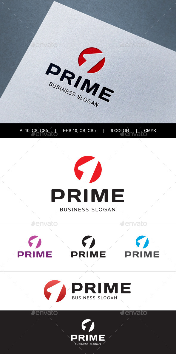 Prime Number One Logo - Numbers Logo Templates