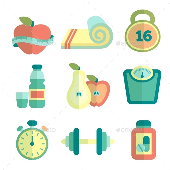 Set of Fitness Icons - Health/Medicine Conceptual