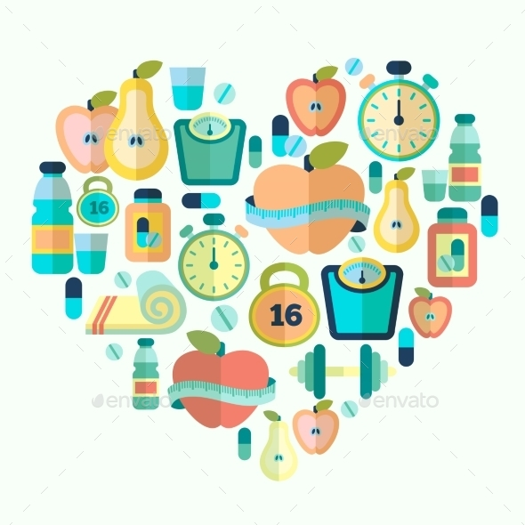 Heart with Fitness Icons - Health/Medicine Conceptual
