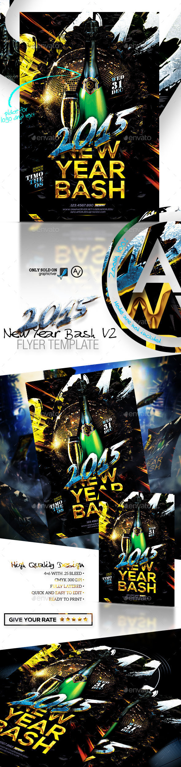 2015 New Year Bash Flyer Template v2 - Clubs & Parties Events