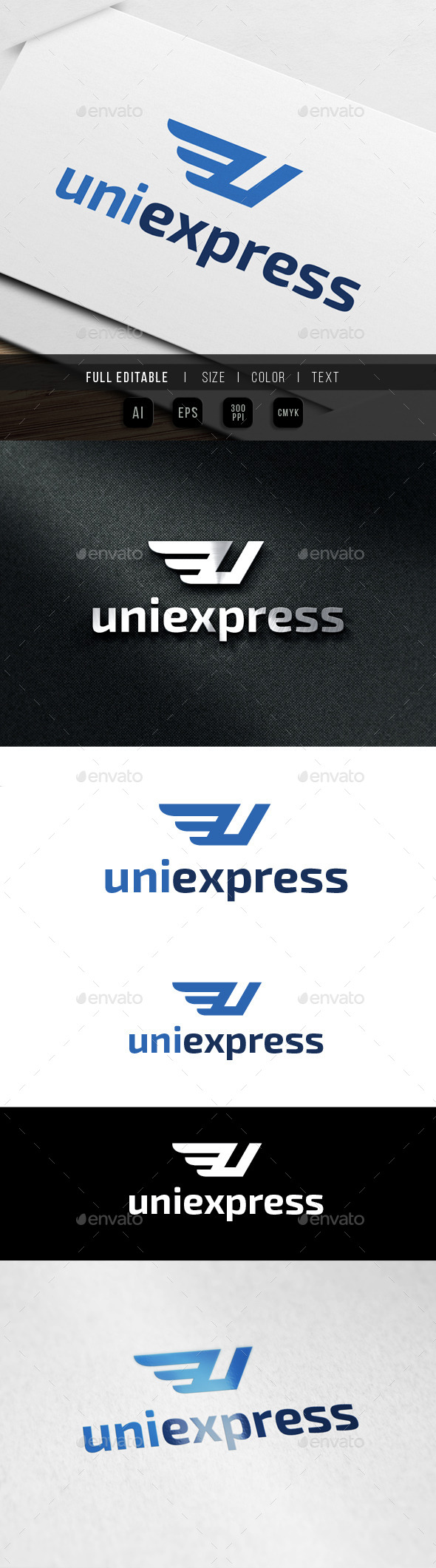 Express - Letter U - Wing - Letters Logo Templates