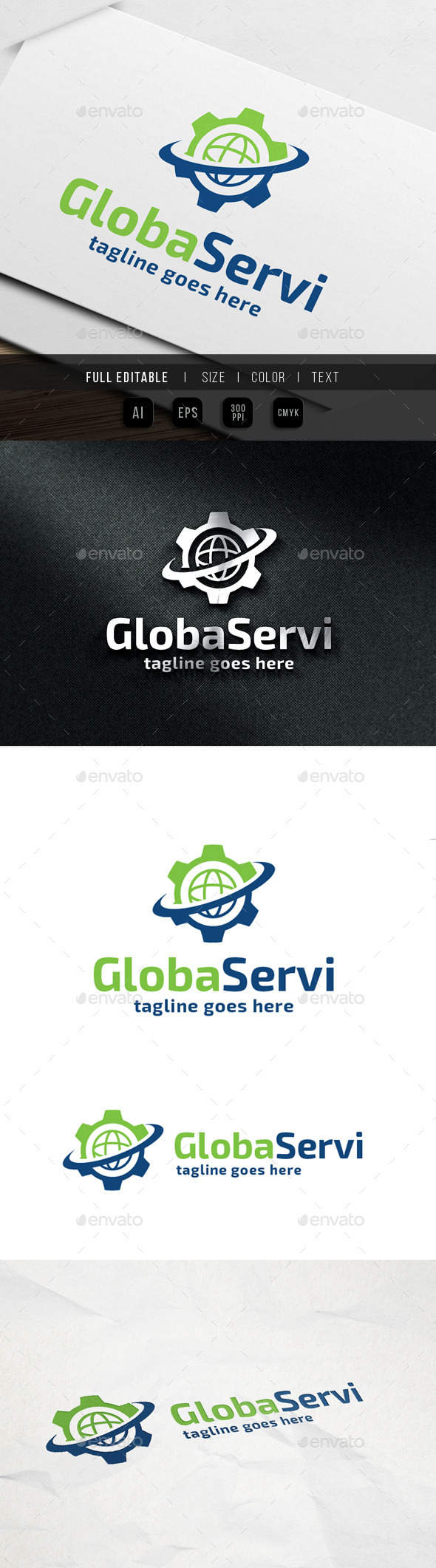 Global Service Gear - Abstract Logo Templates